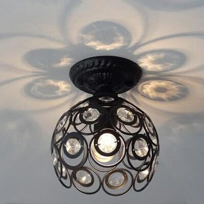 ФОТО LOFT Vintage black ceiling light Wrought iron K9 Crystal Ceiling lamp 5w AC85-265V for corridor lamp balcony kitchen lamp