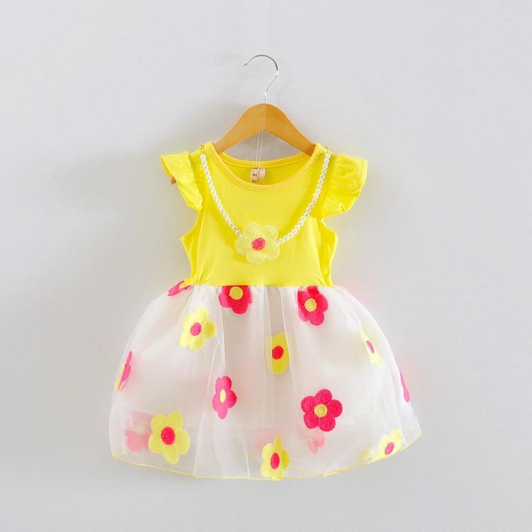 Girl Clothes New 2016 Summer Girls Sleeveless Flower Baby Necklace Dress Baby Girls Dress Kids Clothing Children's Infant Dress