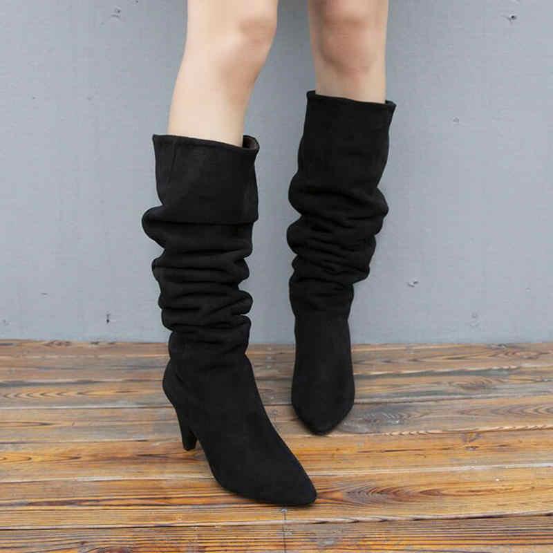 Kadın Botları Kış Kadın Çizmeler Sıcak Kar Botları Pointe Diz Platformu Kauçuk Uzun Çorap Yüksek Topuklu Seksi Siyah kadın Ayakkabı