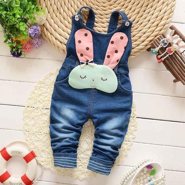 Primavera Otoño Invierno Ropa Infantil Niños Babi Bebé conejo de La Vendimia Faux Denim Jeans Mezclado General Pantalones Largos Pantalones