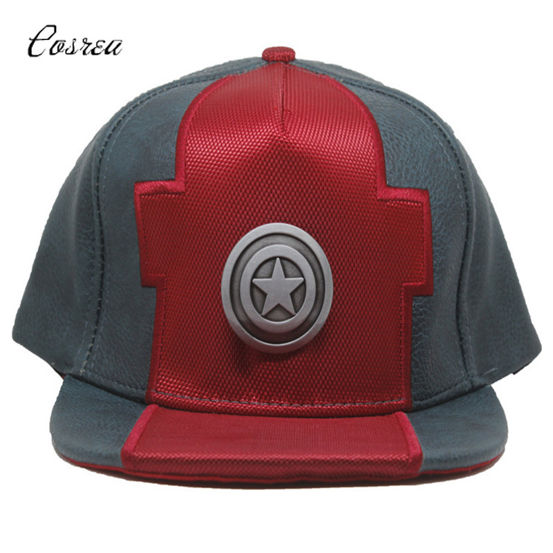 Movie Captain America Adjustable Baseball Caps Hat Leather Baseball Caps Halloween Captain America Superman Sport Cap