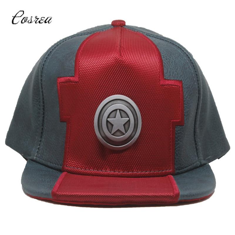 Movie Captain America Adjustable Baseball Caps Hat Leather Baseball Caps Halloween Captain America Superman Sport Cap