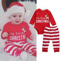 2017 2pcs My First Christmas Newborn Baby Girls Boys Long Sleeve Romper Striped Pants Cartoon Baby