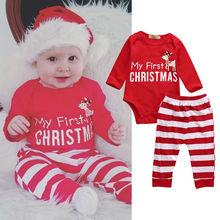 2017 2pcs My First Christmas Newborn Baby Girls Boys Long Sleeve Romper + Striped Pants Cartoon Baby Sets Cotton Clothing DS19