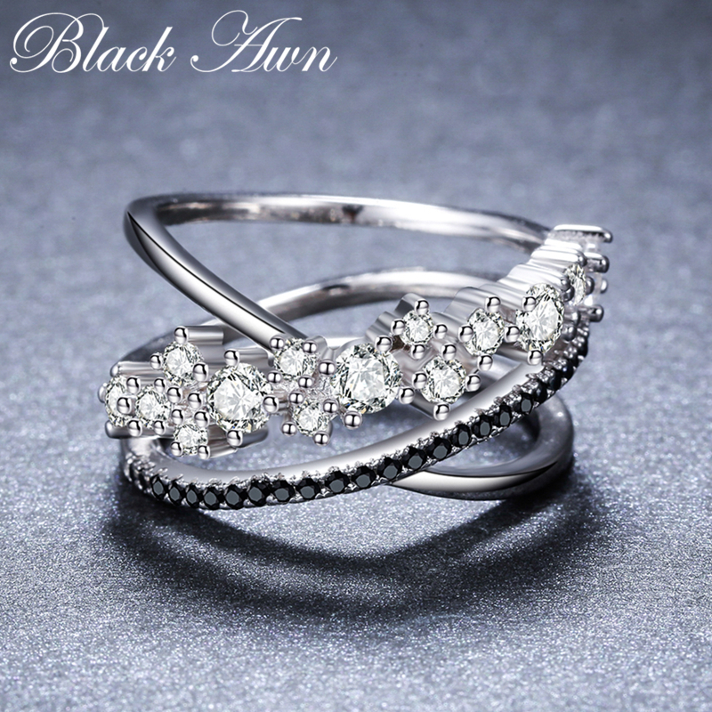 2018 New Romantic 925 Sterling Silver Fine Jewelry Engagement Black Spinel Engagement  Ring for Women Anillos Mujer G0752018 New Romantic 925 Sterling Silver Fine Jewelry Engagement Black Spinel Engagement  Ring for Women Anillos Mujer G075