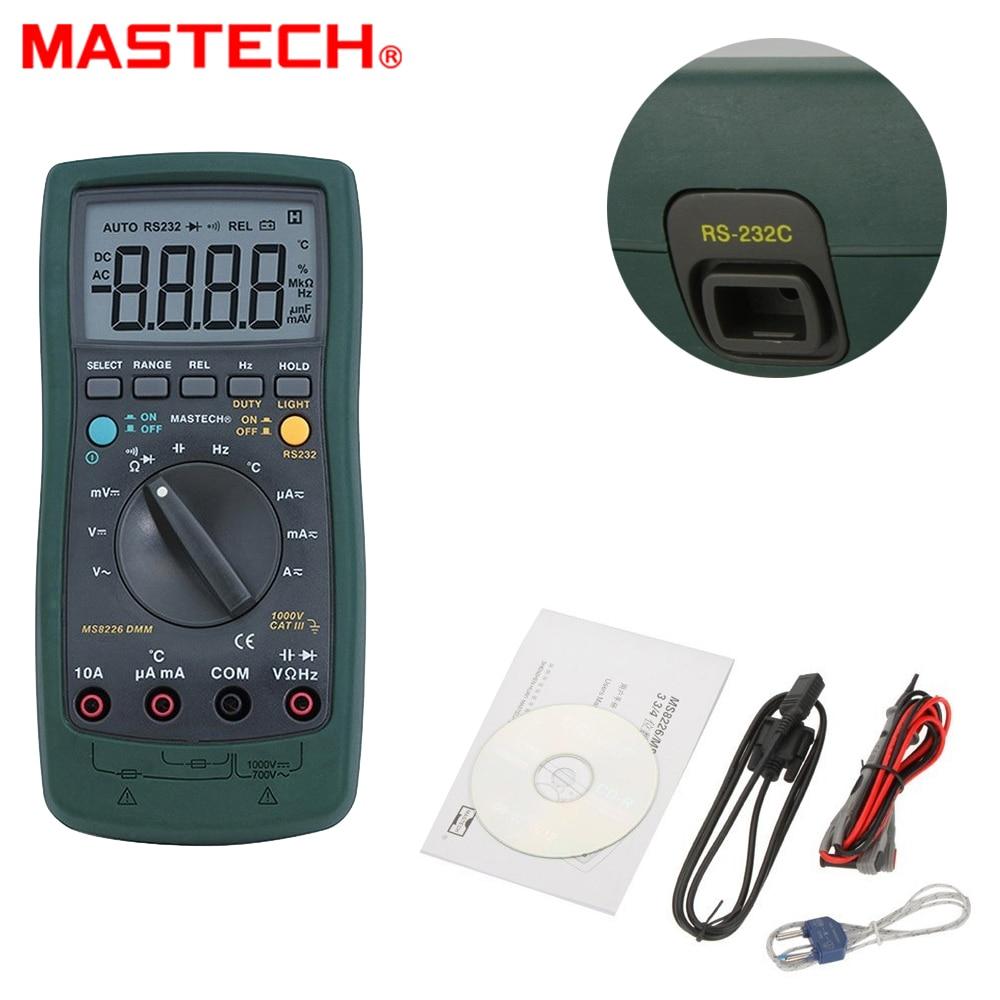 Mastech MS8226 DMM 3 3/4 Digital Multimeter Auto Range Capacitance Resistance Temperature Backlight & PC interface cable