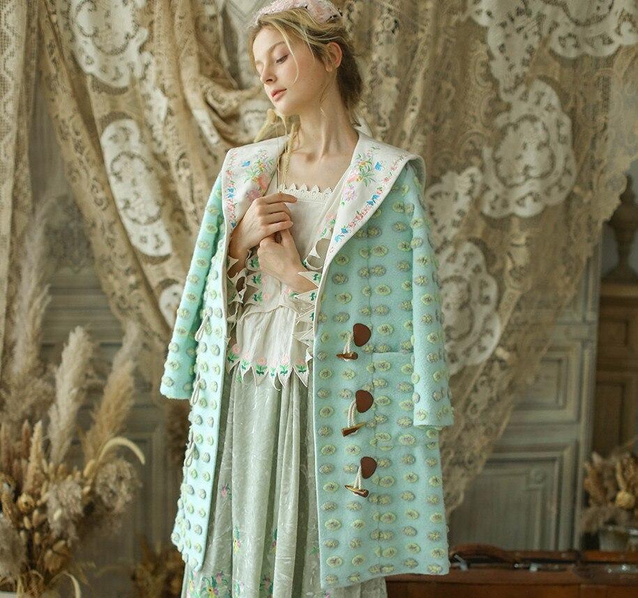 Doux Mignon Broderie Laine Originaldesign Jessica Pardessus Green Vintage Femmes Long Light Revers Magasin Points De Occasionnel Lâche Survêtement Veste qXfwII