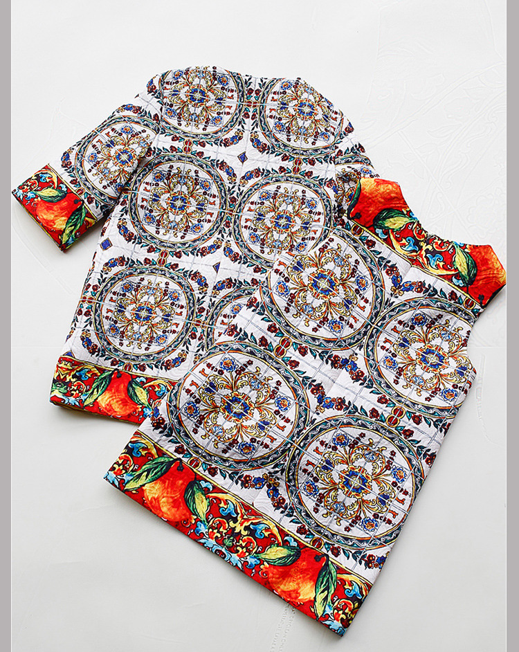 ФОТО winter Girl cotton set children's Retro printed  coat sleeve vest suit Two-piece clothing