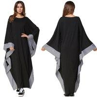 New Arab Elegant Loose Abaya Kaftan Vestidos Islamic Fashion Turkish Muslim Dress Clothing Women Bat Sleeve