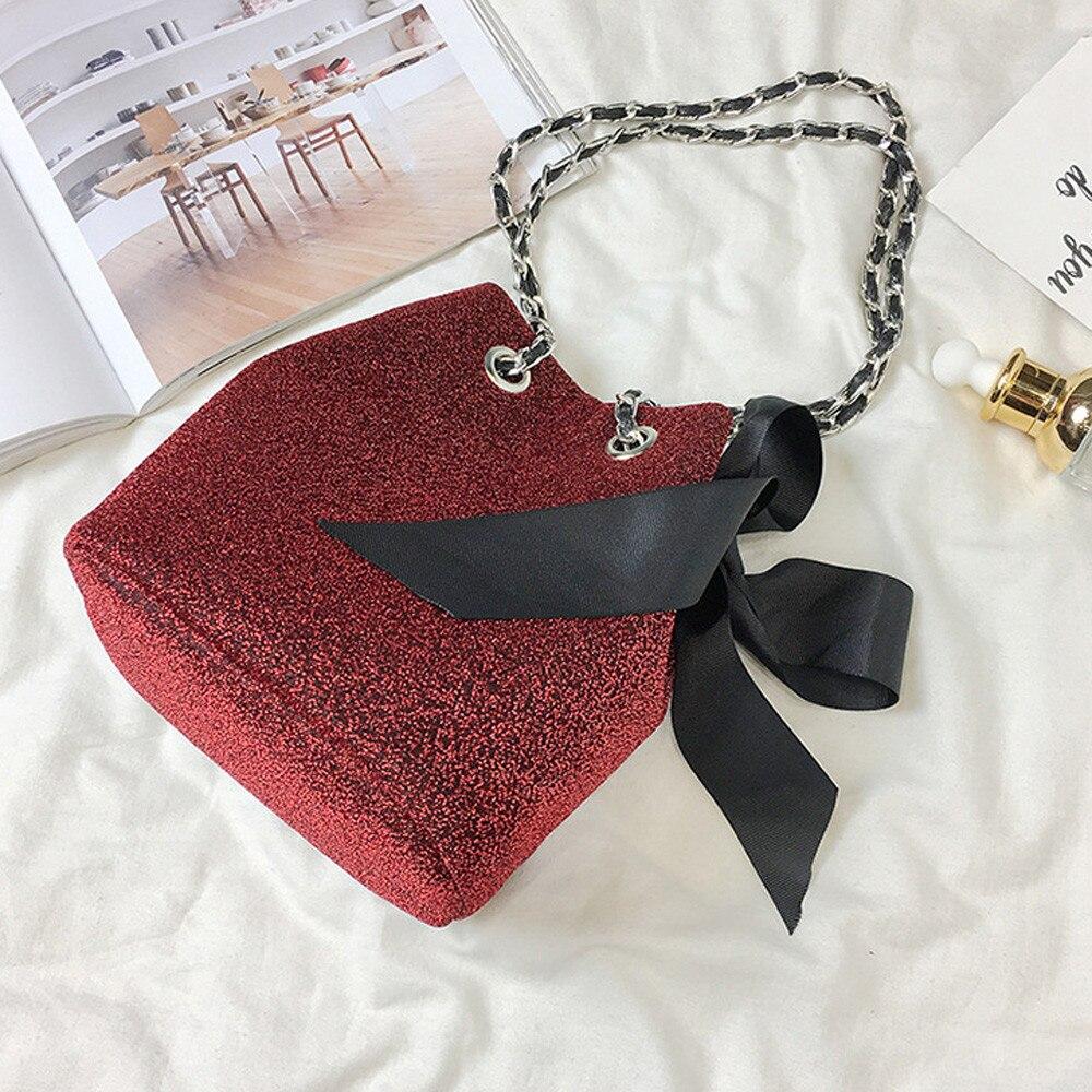Quality Bag Velvet Bowknot Chain Crossbody Bag Bucket Shoulder Messenger Bags Cotton Soft Clutch Handbags