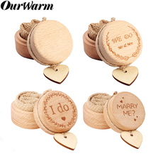 OurWarm Rustic Wedding Wood Ring Bearer Box Natural Wooden Holder Personalized Anniversary Gifts Decor
