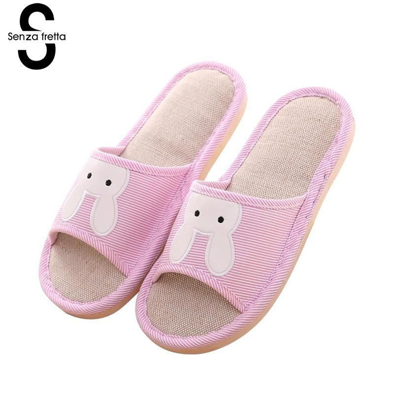 Senza Fretta Cute Bunny Linen Couple Slippers Autumn Winter Non-slip Home Women Sippers Indoor Linen Home Slippers Women Shoes senza fretta women shoes new summer pvc slippers couples women anti slip home slippers indoor soft bottom women slippers