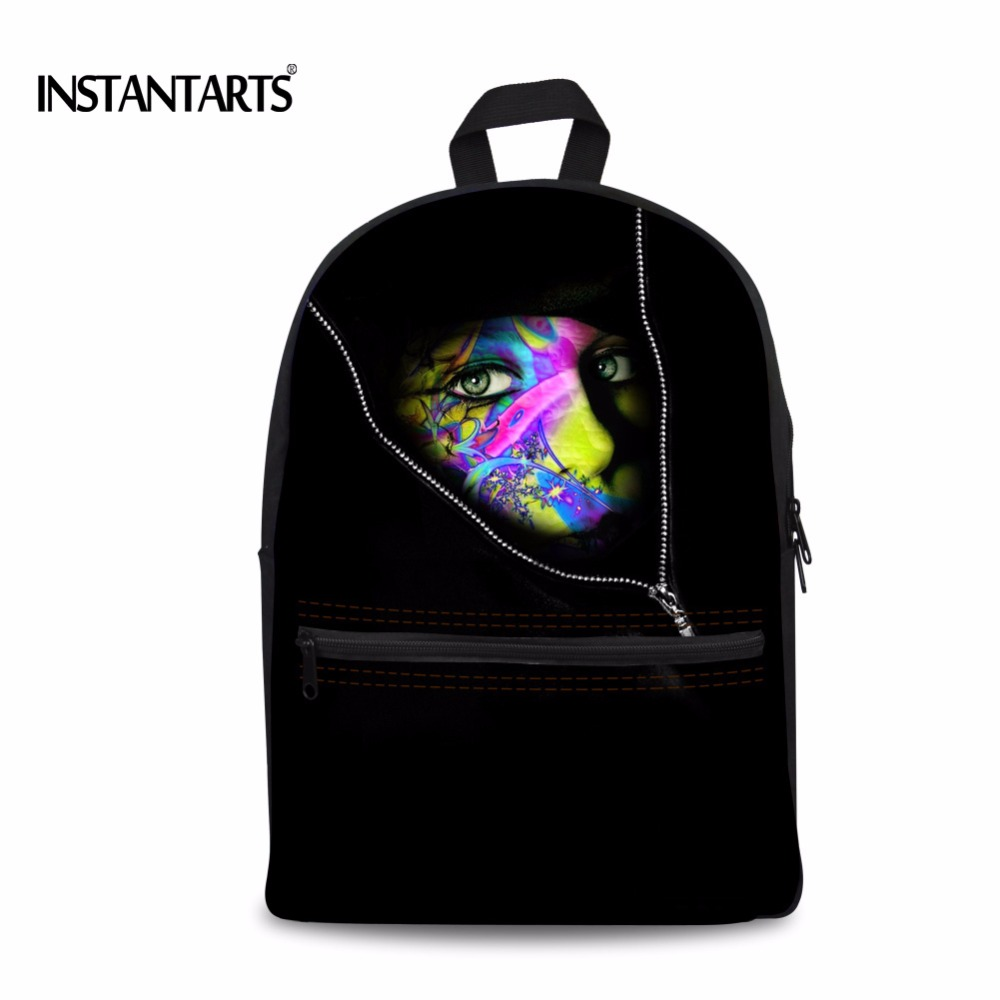 INSTANTARTS Black Art Oil Painting Canvas Backpacks For Teenagers Girls Boys Colorful Face School Bags Casual
