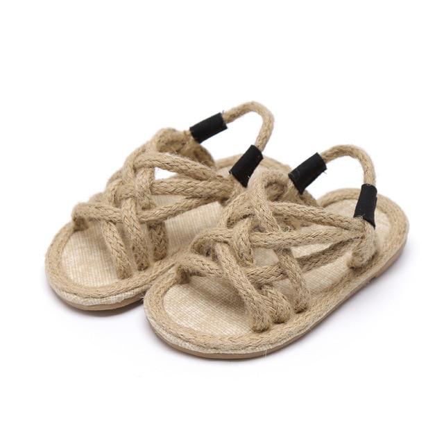 Filles sandales enfants Gladiador Jute Sandalia 2019 été confortable sandales plate-forme plat enfants mode sandales de plage décontractées 4