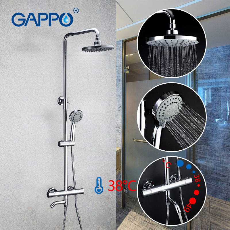 Gappo  BRASS Thermostatic shower faucet bath  lift adjustable hot cold water big round head shower High pressure flushing shower-in Shower System from Home Improvement    1