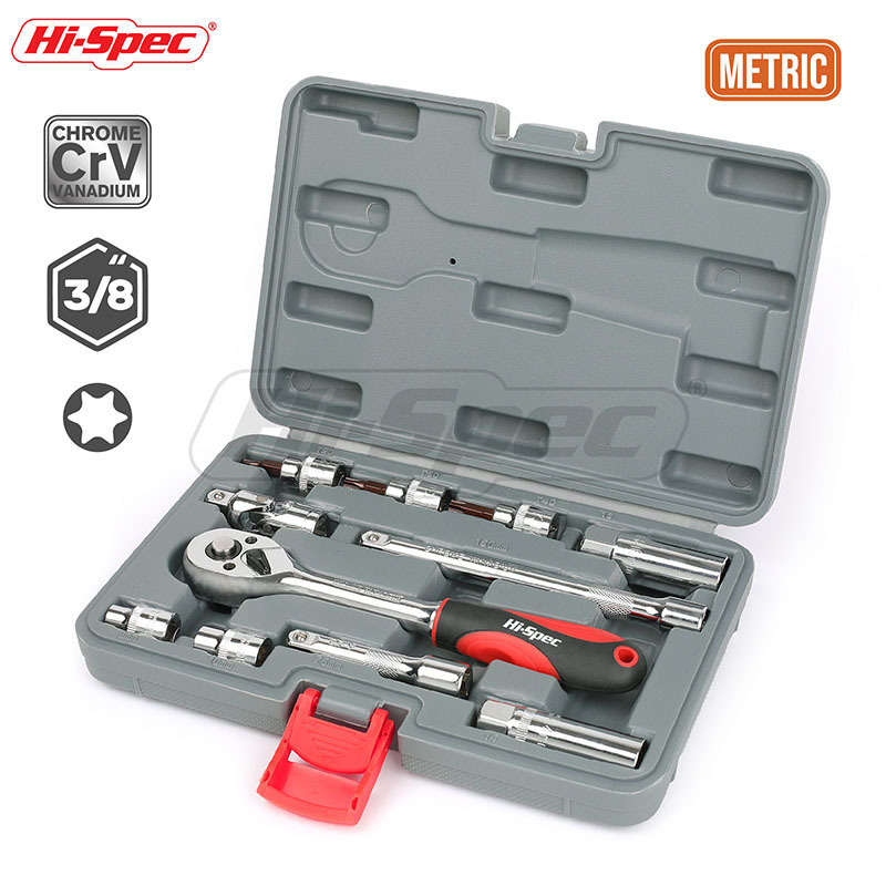Hi Spec 11pc 3/8 Socket Set Ratchet Socket Wrench Spanner with Torx Star Bit Universal Joint Extension Bar Car Repair Tool Kit