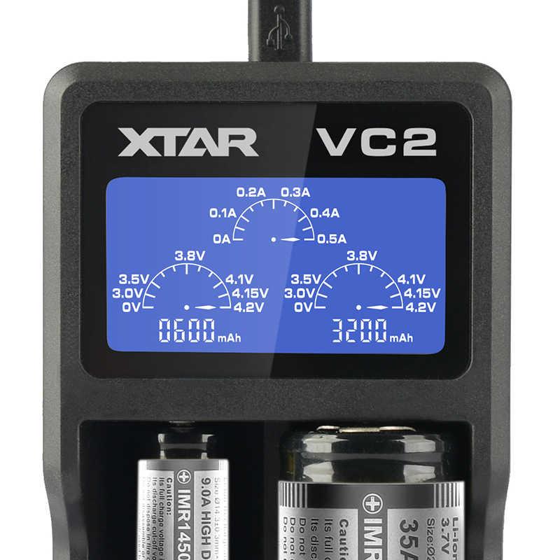 XTAR VC2 شاحن ل 10440/16340/14500/14650/17670/18350/18490/18500/ 18650/18700/26650/22650/20700/21700 شحن البطارية