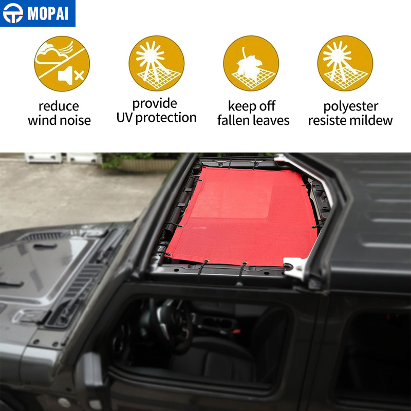Couverture de pare-soleil de dessus de voiture de MOPAI pour Jeep Wrangler JL 2018 filet de maille de Protection solaire d'anti UV de toit pour des accessoires de Jeep JL Wrangler - 2