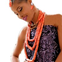 4ujewelry Edo Bridal Jewelry Sets & More 5 Standards African Coral beads Jewelry Sets For Women Earrings Bracelet and Necklace