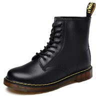 MINGPINSTYLE Men Boots Doc Martins 2018 British Dr Martins Vintage Classic Genuine Martin Boots Thick Heel Motorcycle Men's Shoe