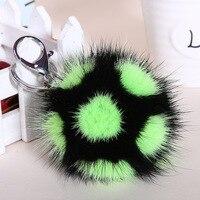 Korean Version Of Colorful Mink Hair Ball Small Football Pendant Car Key Chain Bag Fur Plush