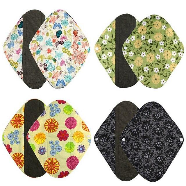 New Organic bamboo inner washable reusable menstrual pads sanitary pads lady cloth pad panty liner Feminine Hygiene pad