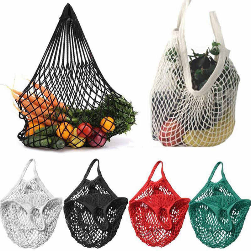Reusable Grocery Produce Bags Cotton Mesh Ecology Market String Net Tote Bag Kitchen Fruits Vegetables Hanging Bag Home