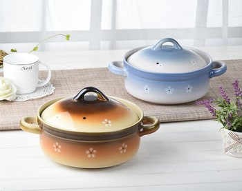 Japanese ceramic soup casserole stew pot ears soil household fire resistance professional packing saucepot sauceboxes 2.5L 3.5L