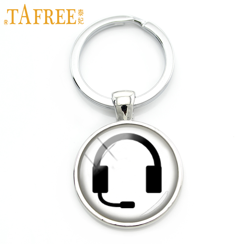 """TAFREE черный брелок для ключей """"наушники"""" простой на белой задней цепочке для ключей индивидуальный стеклянный кабошон Модные мужские и женские ювелирные изделия H680"""