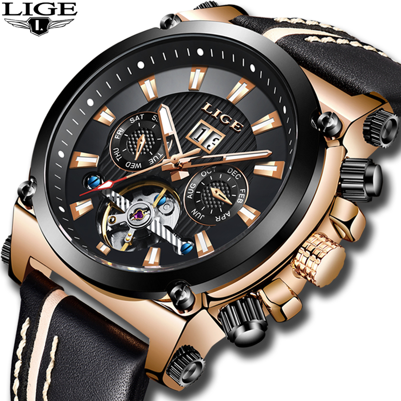New LIGE Fashion Watch Men Top Brand Luxury Automatic Mechanical Watch Casual Sport Waterproof Men Watches Relogio Masculino+BoxNew LIGE Fashion Watch Men Top Brand Luxury Automatic Mechanical Watch Casual Sport Waterproof Men Watches Relogio Masculino+Box
