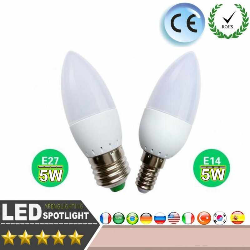 LED Candle Bulb 5W E14 E27 B22 Save Energy spotlight Warm/cool white candle crystal Lamp Ampoule Bombillas LED Cand Lighting
