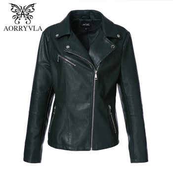 AORRYVLA 2018 New Autumn Women Jacket Leather Plus Size Full Sleeve Turn-Down Collar Zippers Short Slim Ladies Leather Jacket - DISCOUNT ITEM  49% OFF All Category