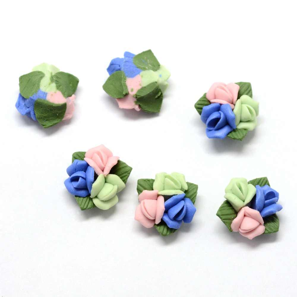 50pcs בעבודת יד פורצלן Cabochons סיני חימר חרוזים פרח DIY תכשיטי אביזרי ממצאי עבודות יד אספקת 3 סגנון-גודל