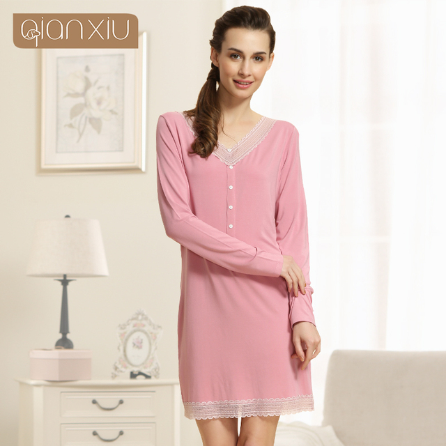 Qianxiu 2016 New Autum Nightgown For Women Knitted Modal Underwear V-neck Sleepwear Sexy Lace Sleepshirts Sleepwear 1545