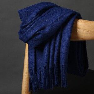 Image 3 - Высококачественный кашемировый шарф для женщин и мужчин, толстое теплое зимнее пончо, роскошный шерстяной Пашмина, женский длинный зимний шарф, шаль, палантин