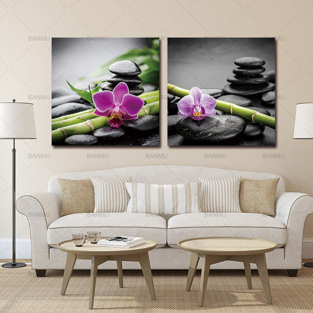 Muur canvas schilderij decoratie voor woonkamer foto 2 Panelen Spa ...