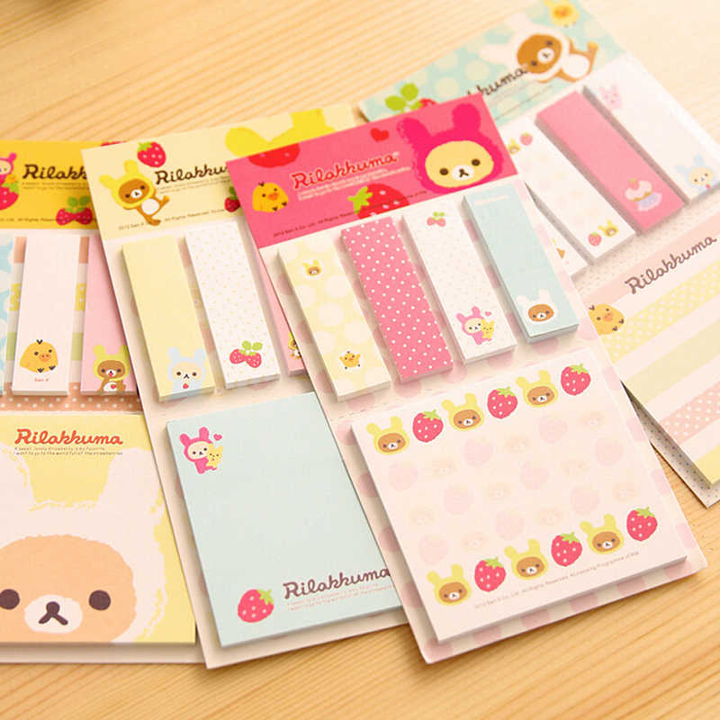 20pcs/lot Kawaii Cute Rilakkuma Sticky Notes Stickers Notepads Stationery Papelaria Planner Memo Pad Student Gift Message Leave