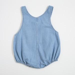 Image 3 - Letnie chłopcy i dziewczęta w 2020 r. Body niemowlęce jasne dżinsy ha yi trójkąt pełzające ubrania, aby wysłać czapki