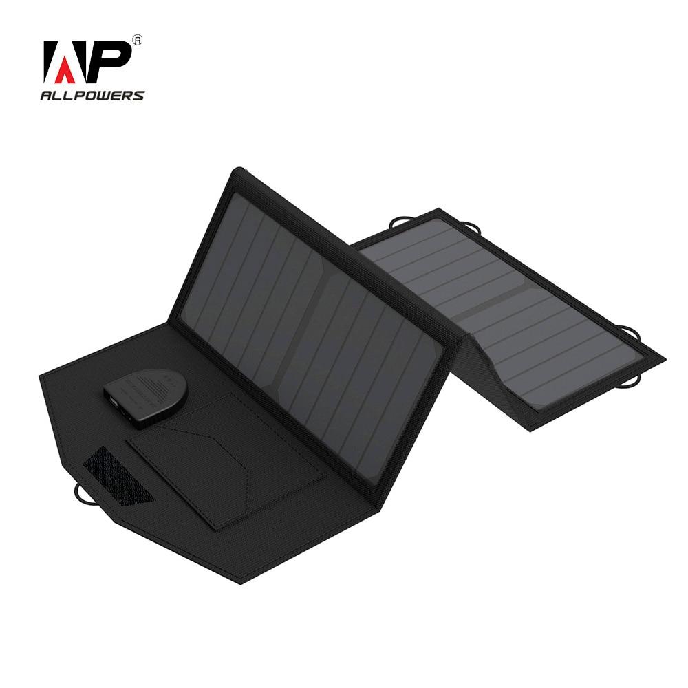 ALLPOWERS Portable Solar Ladesteuerung Ladegerät 18 V 5 V 21 Watt Faltbare Lade Pad mit Dual-ausgang für Smartphones Außenbereich