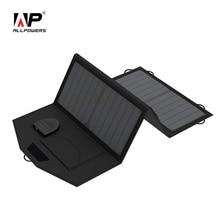 Allpowers 18 В 5 В 21 Вт foldable portable солнечное зарядное устройство двойной выход дикий солнечное зарядное устройство для телефонов таблетки ноутбуки 12 В батареи