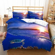 2/3pcs Sea Life 3D Print Turtle Blue Bedding Set Comforter Set Queen King Double Single Duvet Cover Set Deep Sea Bed Linen Set(China)