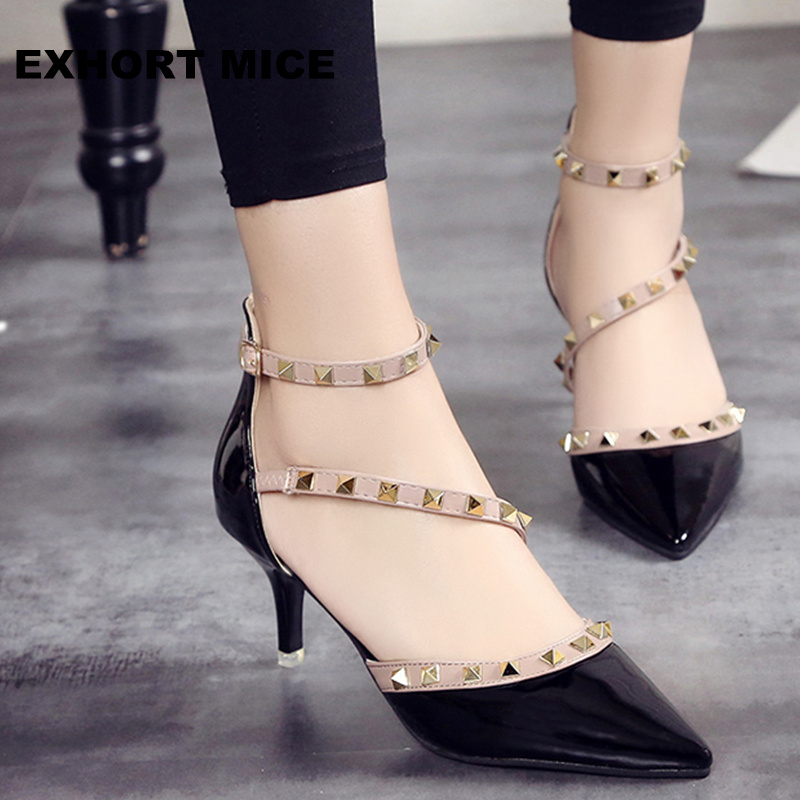 2017 Brand Women Pumps Wedding Shoes Woman High Heels Nude Fashion Ankle Straps Rivets Shoes Sexy Bridal Shoes  6CM
