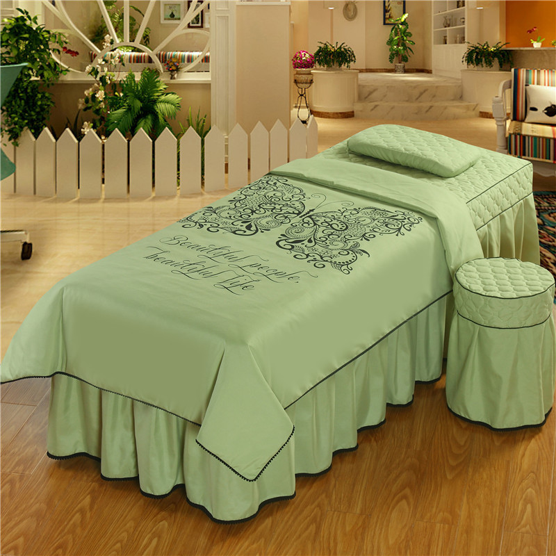 Beauty Salon Bedding Set 4 Pcs Butterfly Duvet Cover Pillowcase Desk Cover Bed Skirt Massage Spa Store Round Square Head
