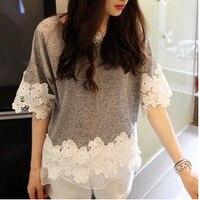 Kobiet t koszula moda Lato nowa wersja Koreańska ażurowe szydełka szwy organzy płatki nieregularny Koszulka darmowa wysyłka
