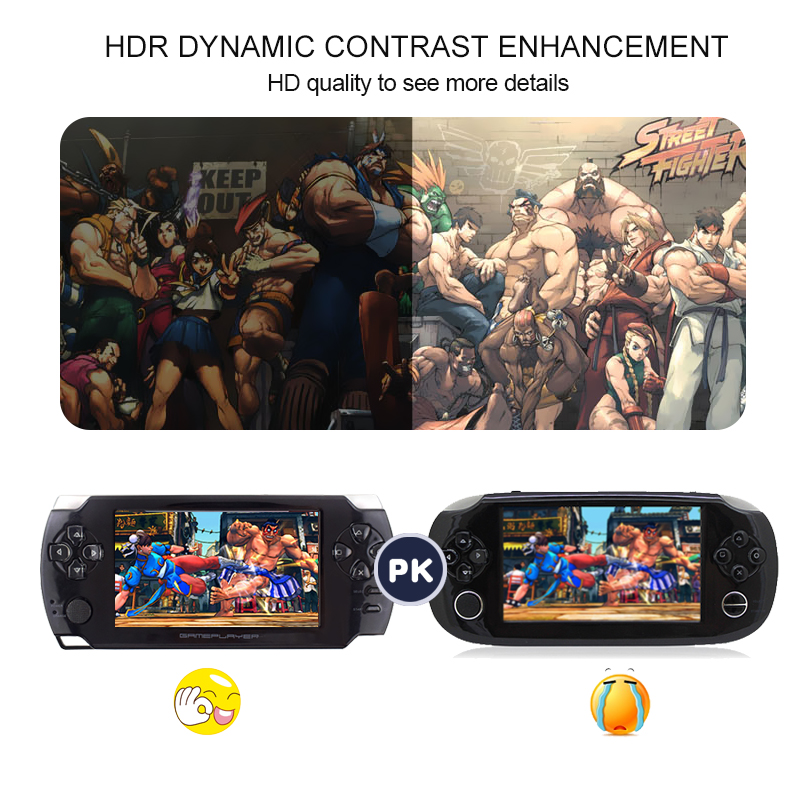 Handheld Game Players with 4.3 inch HD Screen Game 32bit Portable Game Consoles Suport PS1 GBA Copy Game file with 8GB RAM 9