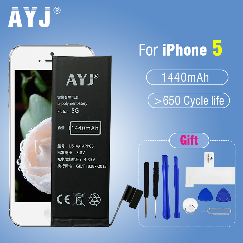 AYJ 5A Quality Battery for iPhone 5 5G Replacement 100% New Real Capacity 1440 mAh Customized Available 3.8-4.3V stability