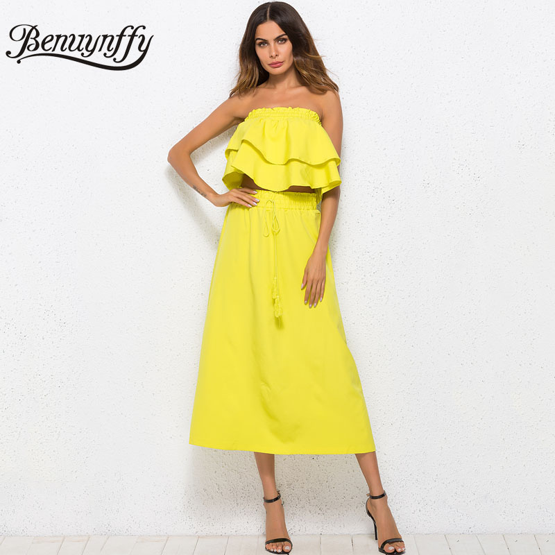 Benuynffy Two piece Off the Shoulder Ruffle Party Dress 2018 Summer Womens Casual Tie High Waisted A-Line Long Solid Dress
