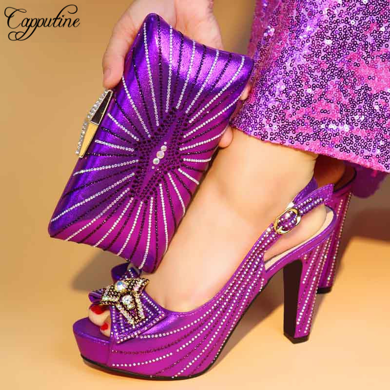Capputine High Quality Pumps 11CM Shoes And Bag Set For Party Italian Design Woman Matching Shoes And Bag Set Free Shipping capputine new africa pumps shoes and matching bag set italian style high heels shoes and bag for party size 37 43 free shipping