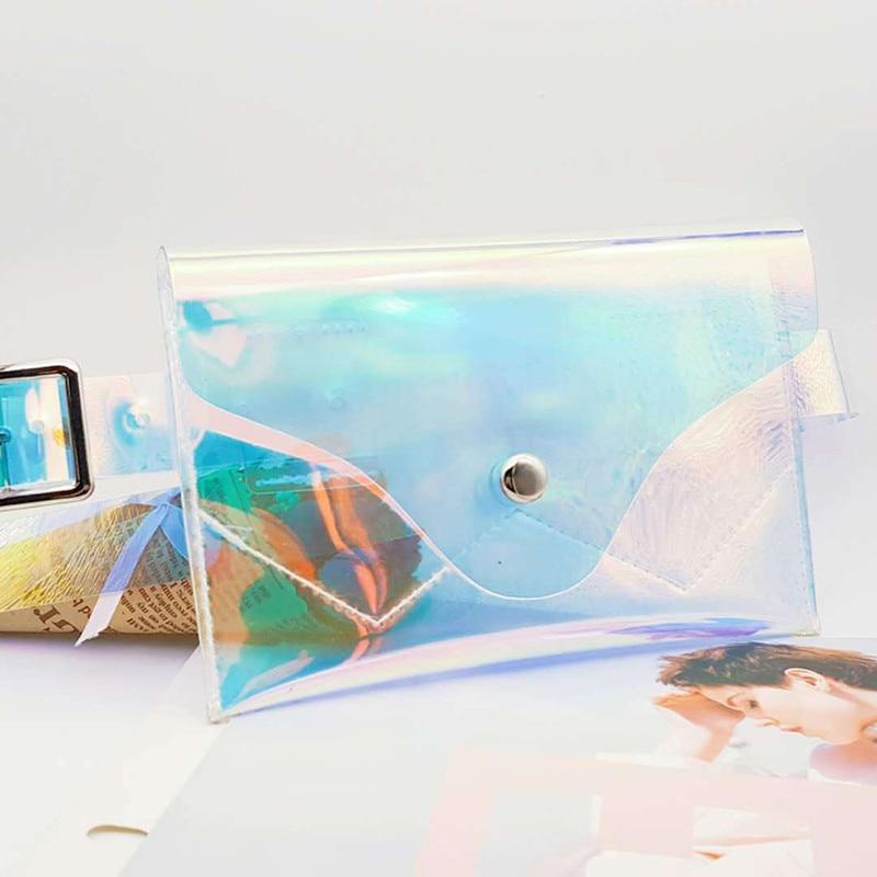 Women PVC Transparent Waist Packs Lady Hologram Laser Fanny Pack Envelope Clear Belt Bag Heuptas Pochette