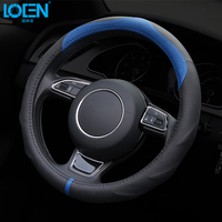 High Quality Universal Leather Non Slip Car Steering Wheel Cover Breathable Diameter 37 38Cm Automotive Interior